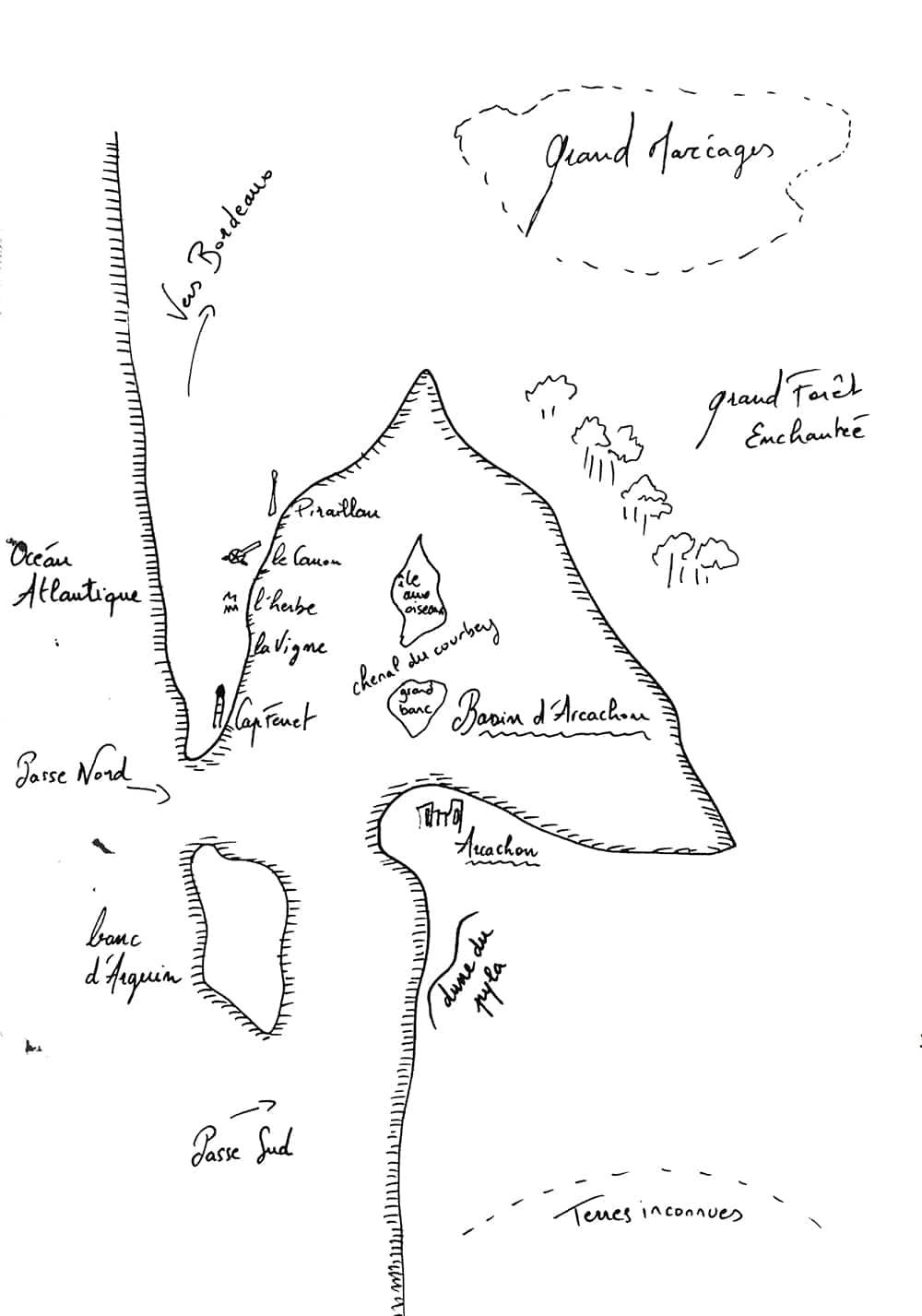 Carte du Bassin d'Arcachon déssinée par Alexia Reveleau